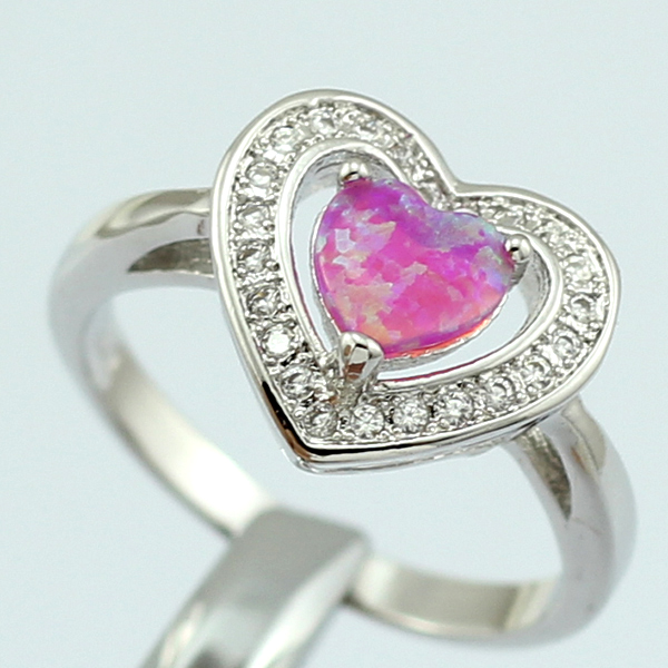 8ba80beaad HAIMIS Heart Shape Pink Fire Opal CZ Women Claw Inay Fashion Jewelry Opal  Ring Size 8 62P-in Rings from Jewelry   Accessories on Aliexpress.com