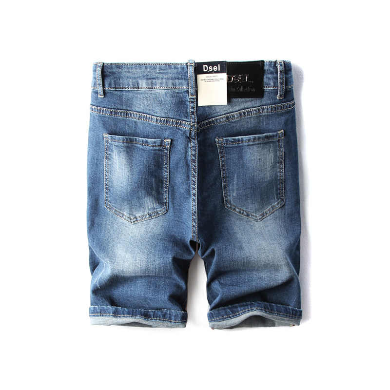 Летние модные укороченные мужские джинсы Синий цвет рваные Elatsic короткие рваные джинсы для мужчин джинсовые шорты бренд dsel повседневные шорты