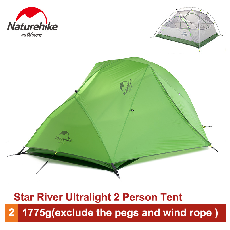 Naturehike 2 Person Ultralight Camping Tent Waterproof 20D Silicone/210T Plaid Fabric Double-layer Tent  NH17T012-T naturehike ultralight 20d silicone coated 2 person double layer waterproof camping tent with snow skirt