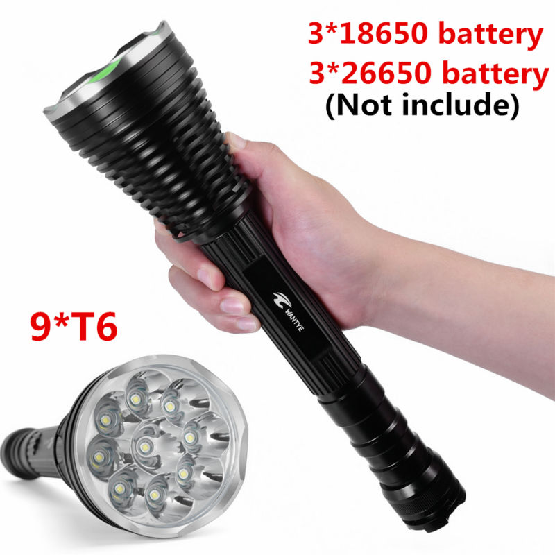 WANTYE 18000Lumens 9* XML T6 5 Modes LED Police Flashlight Torch Outdoor Tactical Flashlights lantern For 3x18650 Battery
