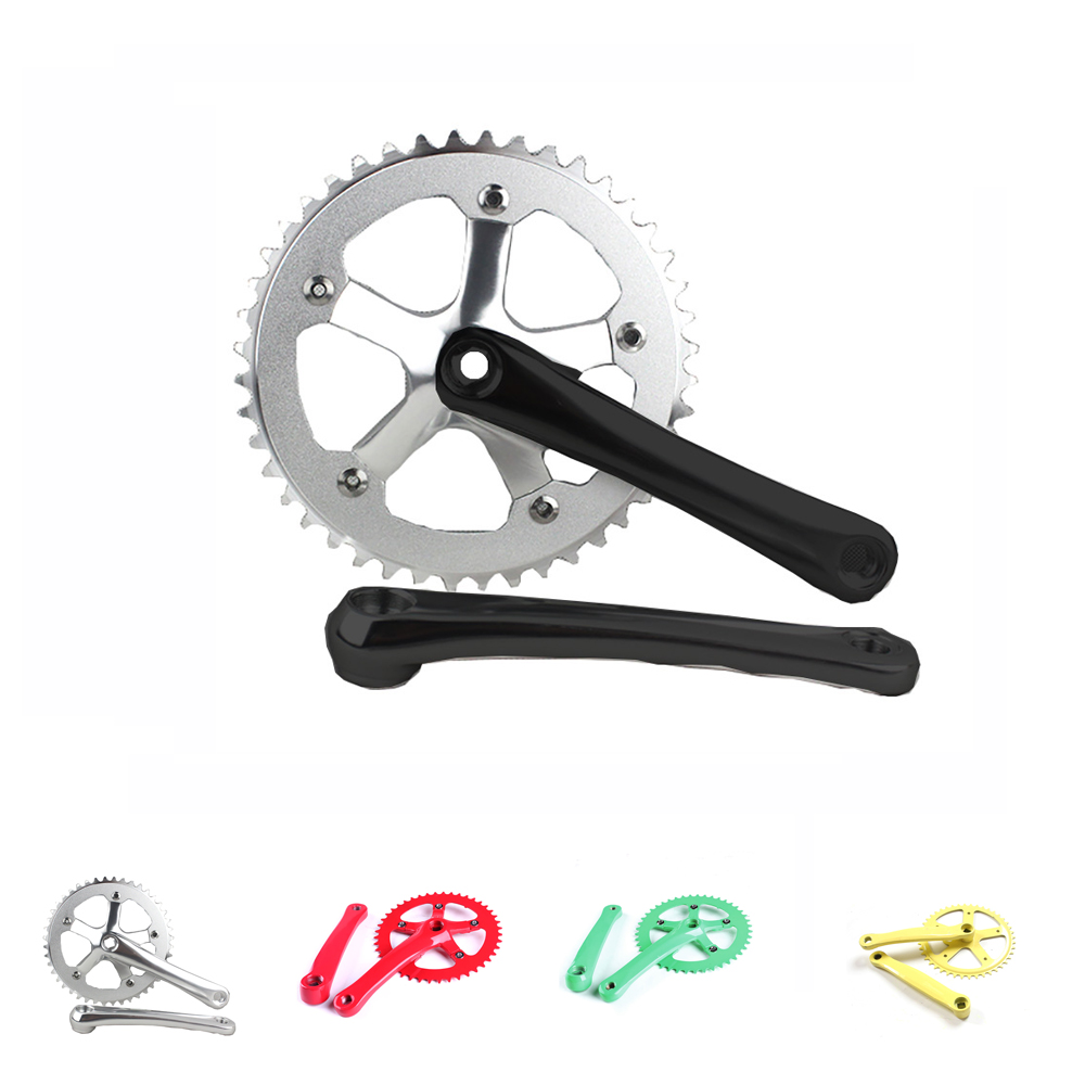 цена на Single speed CNC 44T*170mm 6061-T6 aluminum alloy chainring Crank chainwheel fixie crankset fixed gear folding bike crankset