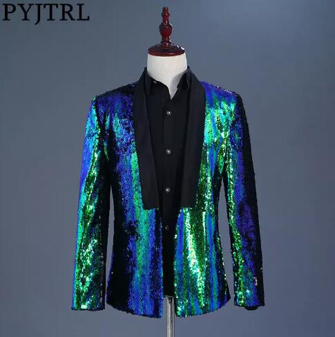 Tide <font><b>Mens</b></font> Double-turning Two Colors <font><b>Sequins</b></font> Blazer DJ Singer Night Club Blue <font><b>Green</b></font> Purple Gold Silver Suit <font><b>Jacket</b></font> Outfit M--3XL image