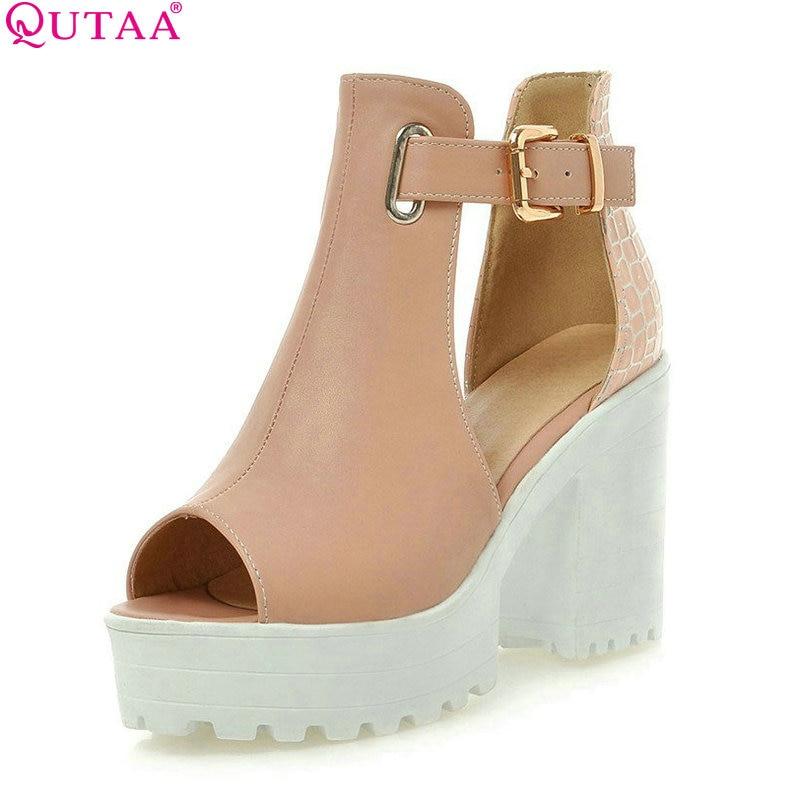 QUTAA Fashion Ladies Summer Shoes Square High Heel PU leather Peep Toe PatChwork Woman Pumps Ladies