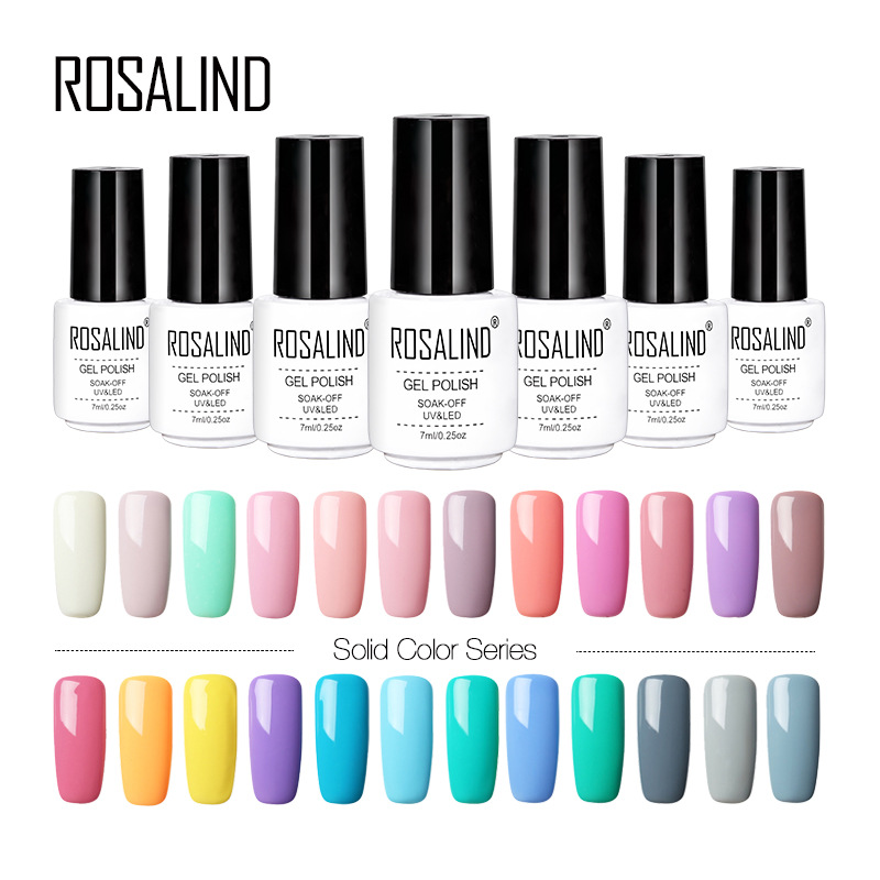 ROSALIND 7ML UV Gel Nail Polish Long-lasting Macaron Gel Polish Lacquer For Nail Extension Design Top Gel Varnishes E18-MA045