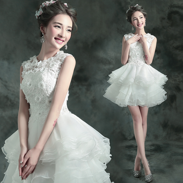 New 2017 White Lace Flowers Sleeveless Formal Short Tail Party Dress Mini Ball Gown Engagement