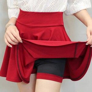 Pleated Skirts Womens Elegant Women Mini Skirt Plus Size Woman High Waist Midi Skirts Autumn Winter Skirt Faldas Mujer Moda 2019
