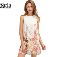SheIn Ladies New Arrival Multicolor Sleeveless Flower Print Dresses Womens Summer Round Neck Cut Out Cute