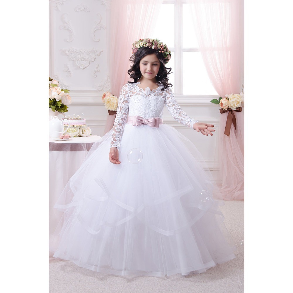 Pink Sashes Princess Lace Flower Girls Dress With Long Sleeve Ball