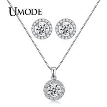 UMODE Jewelry Set for Women Including 1 Pair Small Cute CZ Stud Earrings and Chain Pendant Necklace of Perfect Handcraft US0014 pair of cute kitten earrings for women