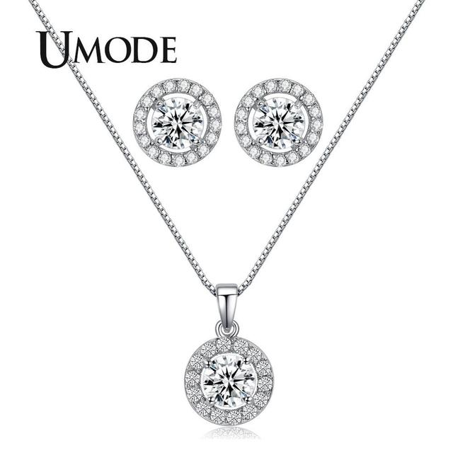 UMODE Jewelry Set for Women Handcraft Small Cute CZ Stud Earrings and Chain Pendant Necklaces Wedding Accessories Gifts US0014