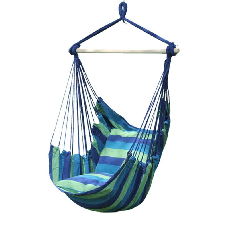 Outdoor Hanging Chair Hammock With Strong Wooden Stick Prevent Rollover Durable Swing Canvas Hamac People Relax Portable Seat