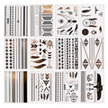 Cool 12 Pcs Metallic Bronzing Retro Fashion Temporary tattoo Body Makeup Sticker GUB#