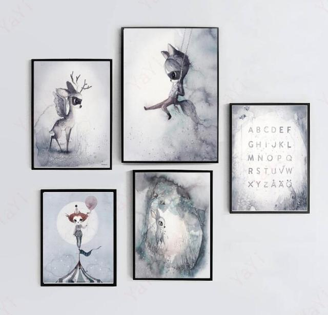 Modern Nordic  Rabbit Girls Poster Cartoon Wall Pictures Canvas Painting No Framed Kids Room Decor
