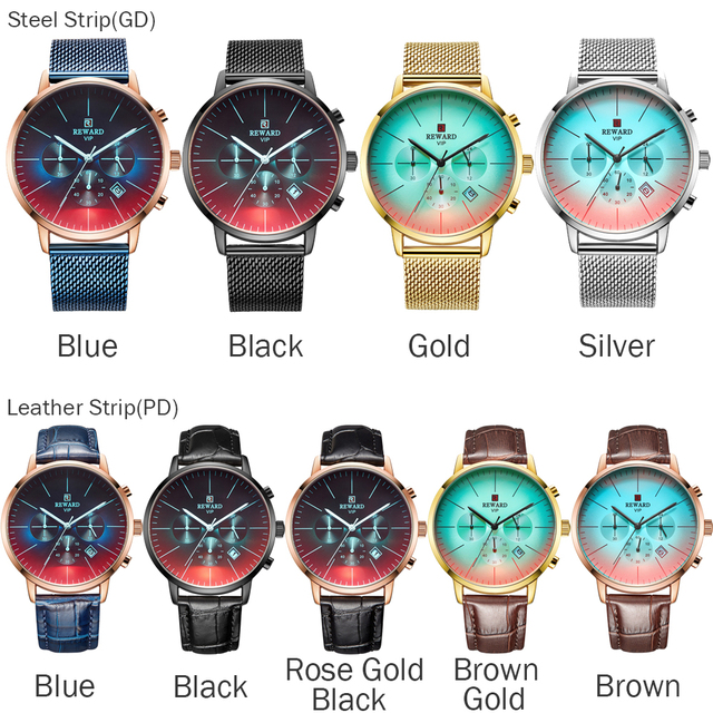 New Fashion Color Bright Glass Luxury Brand Stainless Steel Business Wrist Watch 4