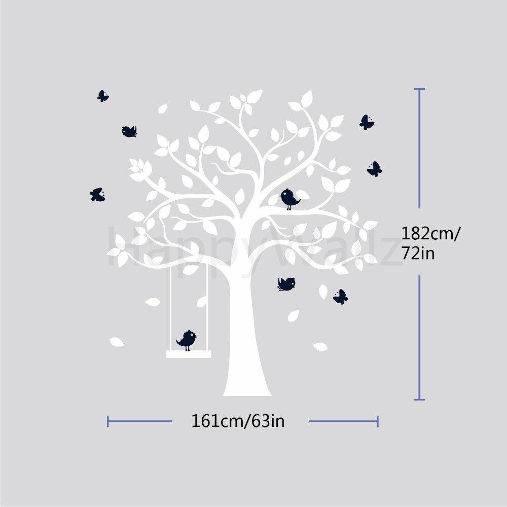 Baby Kinderzimmer Baum Wandaufkleber Vögel Schaukel Baum Wandtattoos - Wohnkultur - Foto 5