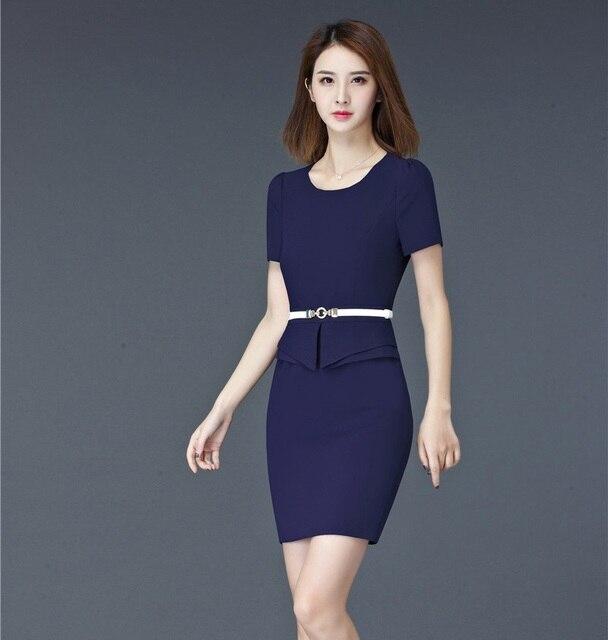 7a202517aa Las mujeres de la manera del verano trabajan Vestidos manga corta formal  damas azul vestido con