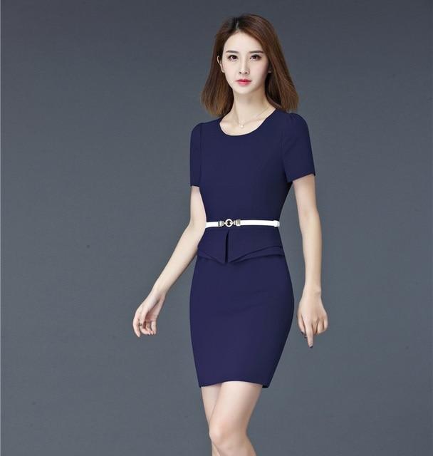 7bfcceddf74 Mode-d-t-femmes-robes-pour-le-travail-manches-courtes-formelle-dames-bleu -dress-avec-ceinture.jpg 640x640.jpg