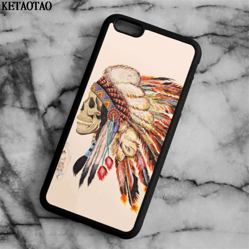KETAOTAO INDIAN FEATHER SKULL Phone Cases for iPhone 4S 5C 5S 6 6S 7 8 Plus X for Samsung S7 NOTE Case Soft TPU Rubber Silicone