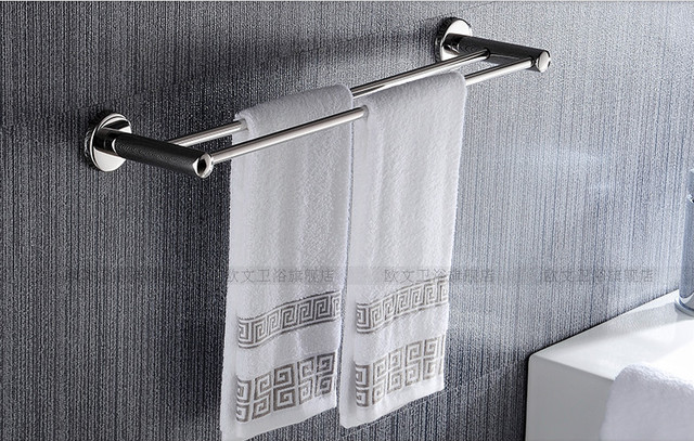 Bathroom Towel Holder Stainless Steel Rack Double Pole Bath Hanging ...