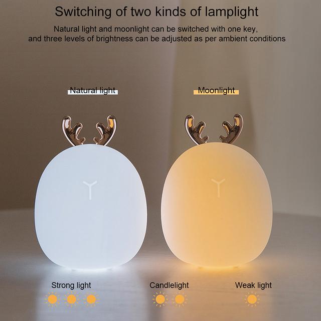 Deer USB Silicone Touch Sensor LED Night Decorative Light