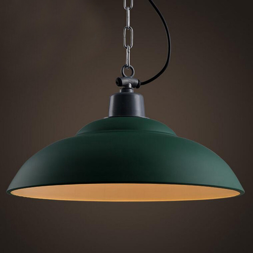 Vintage industrial hanging lamps Dia 38cm Green Red wrought iron lampshade chain pendant lights for cafe restaurant dining room industrial vintage wrought iron chandelier hemp rope lamps fabric lampshade d35cm d40cm d45cm art restaurant cafe room lighting