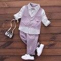 Novo 2017 Moda Primavera Menino Tarja Cavalheiro Terno Do Bebê Menino Roupas Set Longo-Shirt mangas + Calça Longa 2 pcs Crianças Define