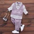 Nuevo 2017 Resorte de La Manera Del Bebé de La Raya Traje de Caballero Ropa de Bebé Niño Establece Camisa de manga Larga + Pantalón Largo 2 unids Sistemas de Los Niños