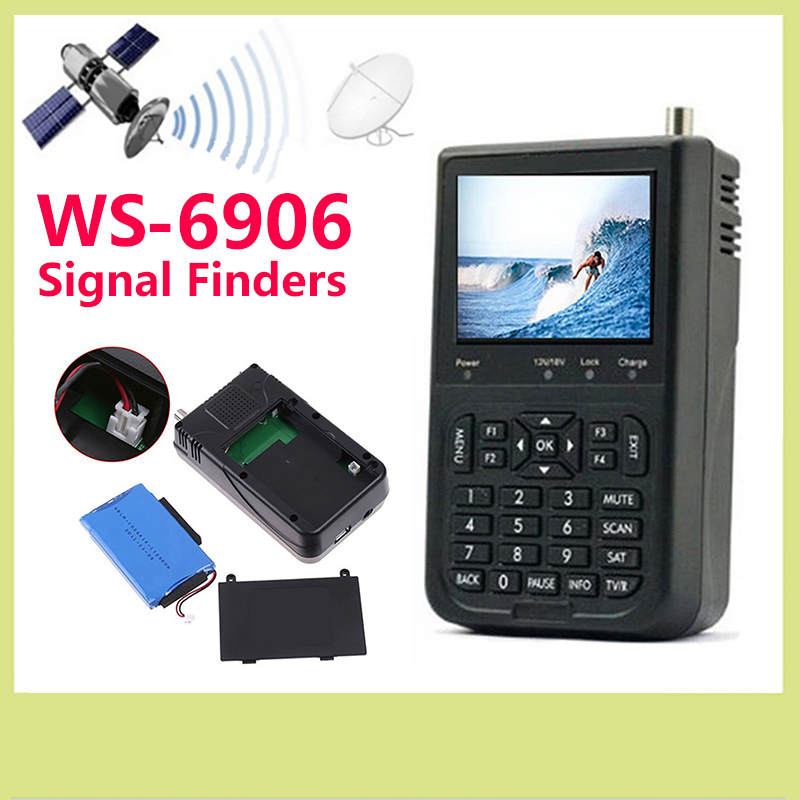 Hot sales Original Satlink 6906 Satellite Signal Finder DVB-S FTA digital satellite meter ws-6906 finder 3.5 inch TFT LCD Screen satlink ws 6906 3 5 lcd dvb s fta data digital satellite signal finder meter