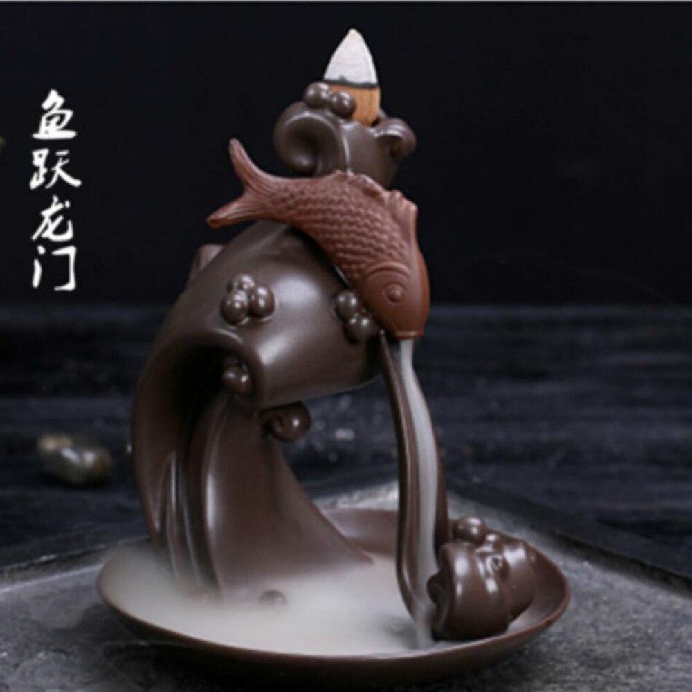 Brûleur d'encens encensoir en céramique bâton d'encens bois de santal poisson ornements créatifs encensoir WL5291119