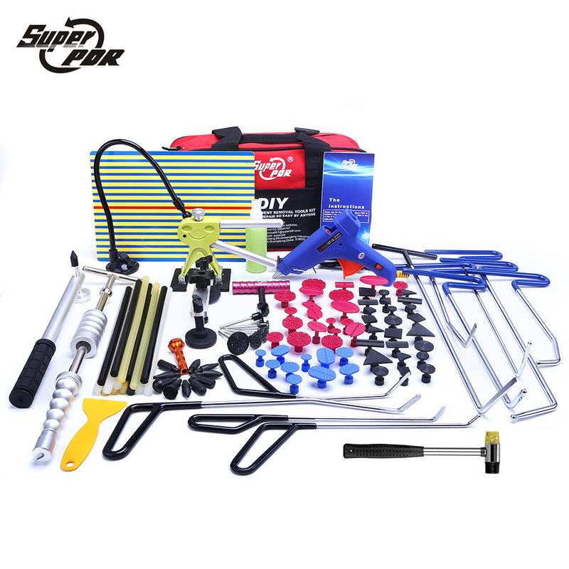 Super PDR Paintless Dent Repair Tools Push Rod Hooks Crowbar Light Reflector Board Slide hammer glue