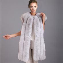 Новинка, осенне-зимнее пальто из лисьего меха, жилет из искусственного лисьего меха, меховой жилет средней длины, большой размер, XS-6XL, теплое Женское пальто из искусственного меха