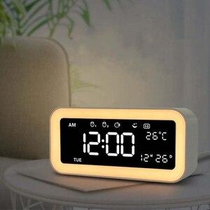 Image 3 - ホット 12 5v デュアル Usb 充電スマートデジタルアラーム時計は調光可能な Led ライト音楽スヌーズ機能アラーム時計