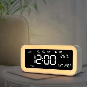 Image 3 - حار 12 فولت شحن USB مزدوج ساعة ذكية منبه رقمي مع عكس الضوء مصباح ليد وظيفة غفوة الموسيقى ساعة تنبيه