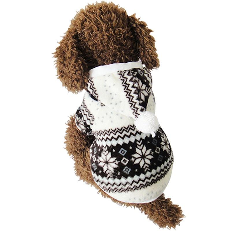 Chaude Hiver Chaud Mou Pet Chien Vêtements De Noël d'hiver Confortable flocon de neige Dot Costume Vêtements En Peluche Veste À Capuche Manteau Pour Petit chien