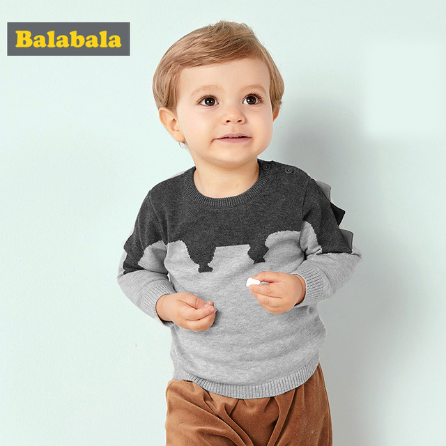 Balabala Sweater for Baby Boy Cotton Autumn Winter Infant Boys Sweater Lovely and Cute Animal Pattern Sweater Newborns Baby Boys