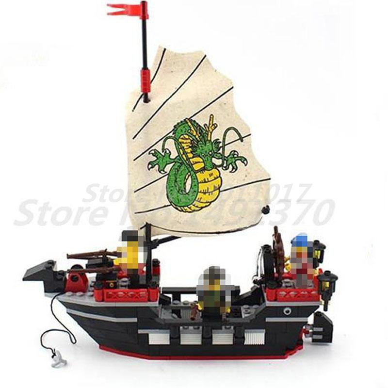 Enlighten 301 Building Blocks Ancient Barbara Pirate Ship Dragon Boat Action Model Educational Toys For Children Gifts