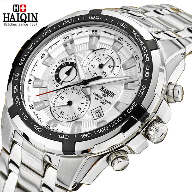 mens wristwatches quartz 316L stainless steel black white luxury man watches waterproof calendar top brand HAIQIN male clocks mce top brand mens watches automatic men watch luxury stainless steel wristwatches male clock montre with box 335