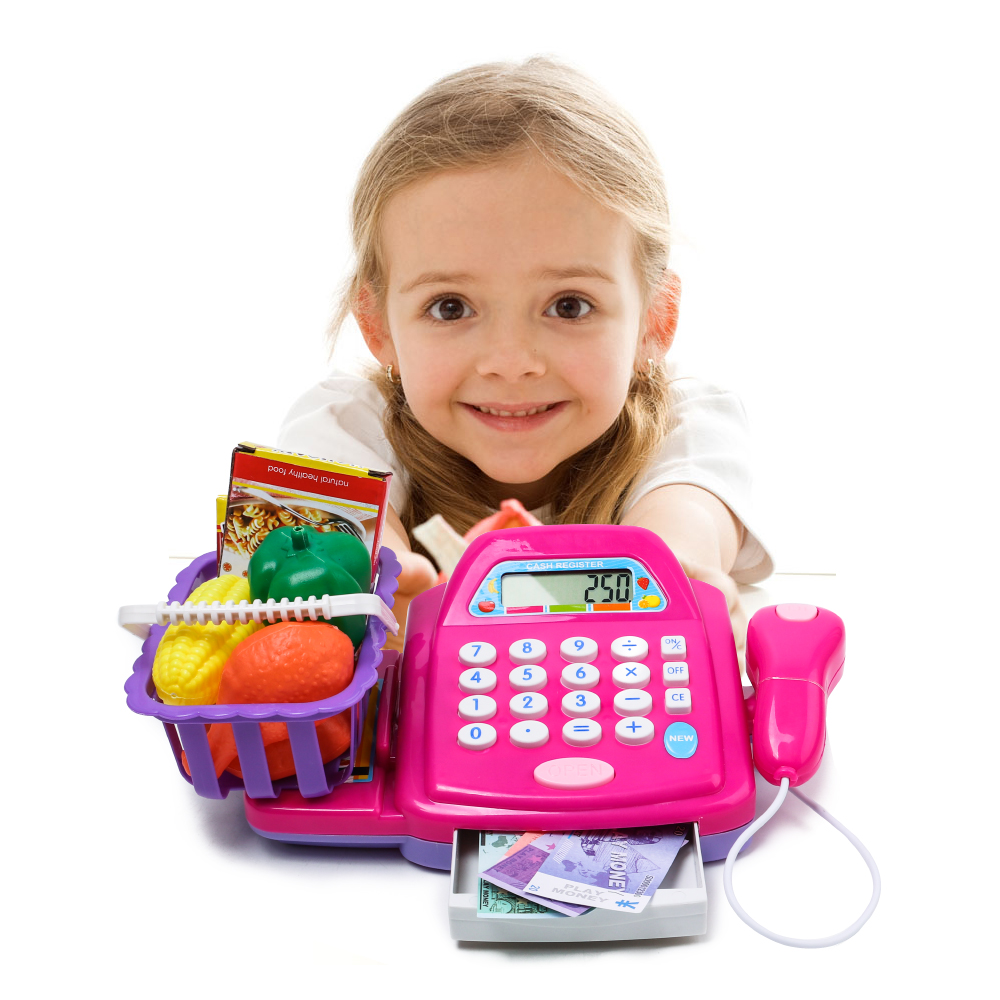 Plastic Cash Register Cashier Pretend & Play Children Early Educational Toy with Shopping Basket