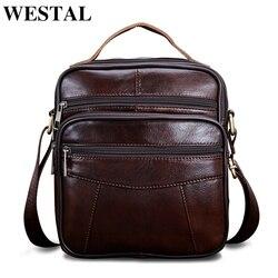 WESTAL натуральная кожа сумка Для мужчин плечевой ремень сумка клапаном небольшой Ipad мужской сумки crossbody сумки для Для мужчин новый дизайн 8318