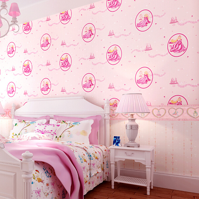 Pure Pink Disney Princess Bedroom Wallpaper Romantic Girl Childrens Room In Wallpapers From Home Improvement On Aliexpress