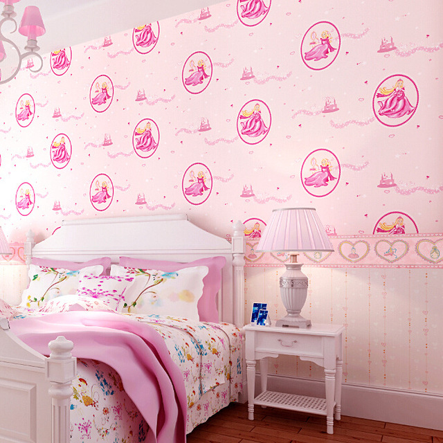 Pure Pink Disney Princess Bedroom Wallpaper Children S Room