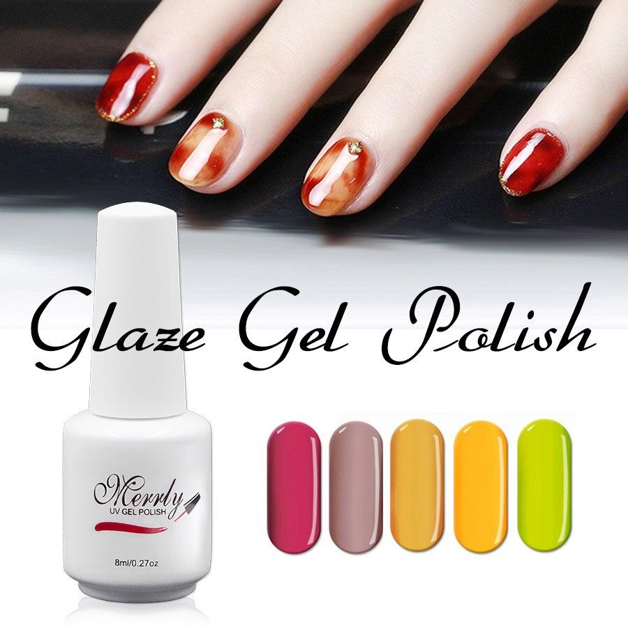 Merrly 8 ml Glas Glasur UV Gel 16 Farbe Wählen DIY Acryl Nagellack ...
