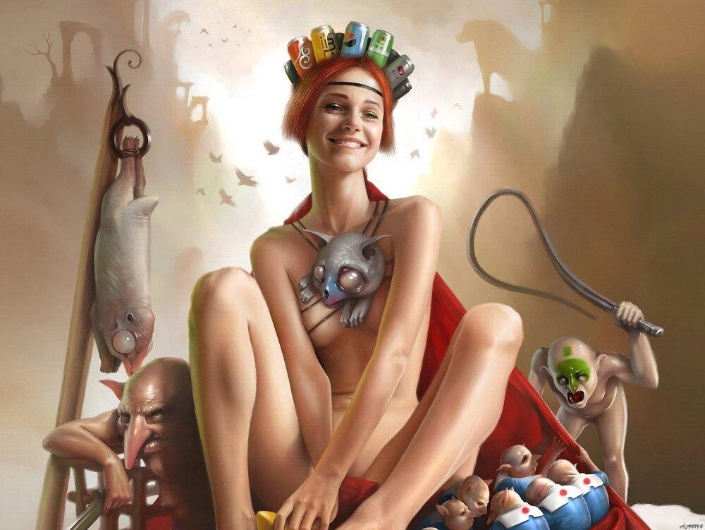 Sexy Nude Redhead Girl Goblins Fantasy Art Huge Print -8338
