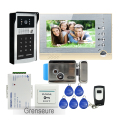 "Free Shipping 7"" Screen Record Video Door Phone Intercom System + Outdoor Metal RFID Code Keypad Camera + 8G SD + Electric Lock"