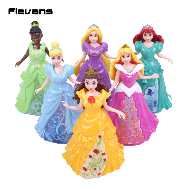 ФОТО princesses pvc figures toys 6pcs/set rapunzel ariel aurora bella cinderella tiana dress can take off girls toys gifts