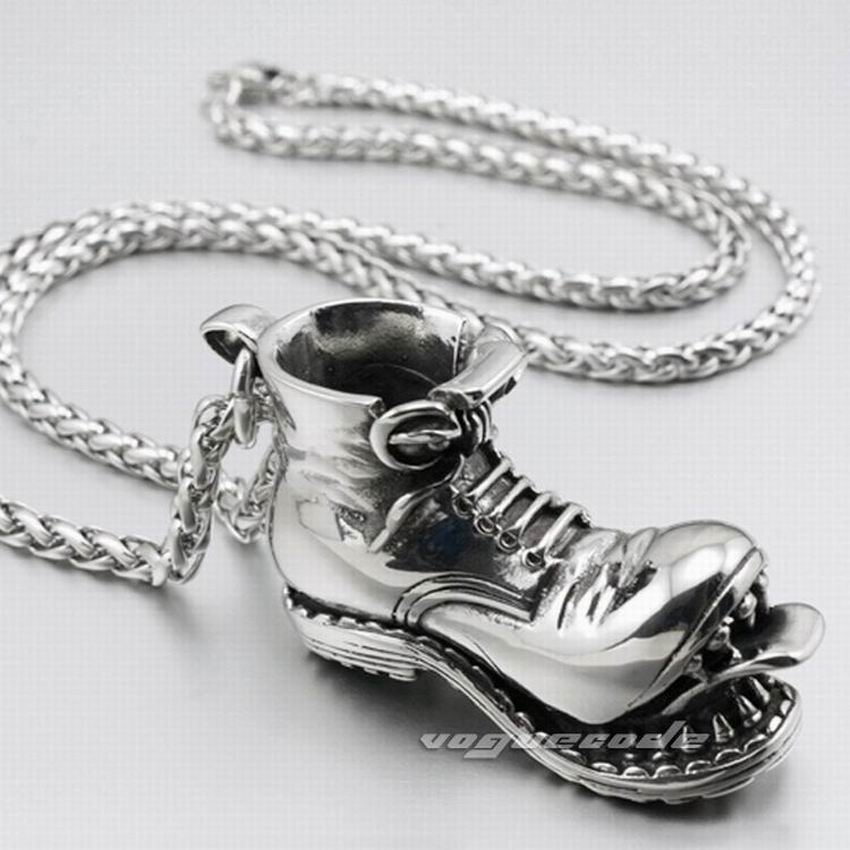 316L Stainless Steel Boot Skull Pendant Mens Biker Rock Punk Style 4S026 Stainless Steel Necklace 24 inchesstainless steel skull pendantbiker pendantbiker necklace -