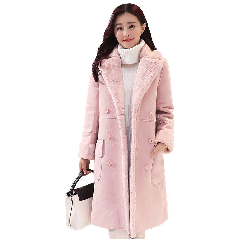 Winter Thick Fashion Double-breasted Suede Jacket Women Medium-long Parka Coat Casual Slim Female Large Size Outerwear TT2987