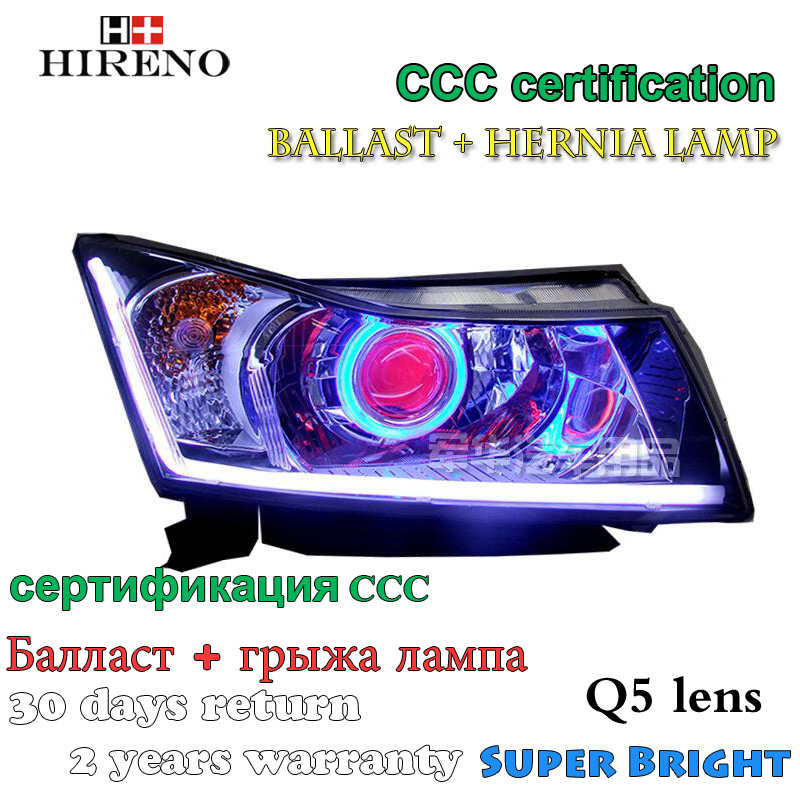 Hireno Modified Headlamp for Chevrolet Cruze 2009-2014 Headlight Assembly Car styling Angel Lens Beam HID Xenon 2 pcs