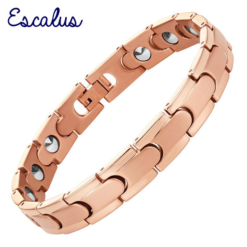 Escalus Link Chain High Pure Germanium Women Bracelet Rose Gold Color Health Energy Men Steel Bracelets Bangle Wristband Charm