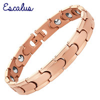 Escalus Link Chain High Pure Germanium Women Bracelet Rose Gold Color Health Energy Men Steel Bracelets Bangle Wristband Charm
